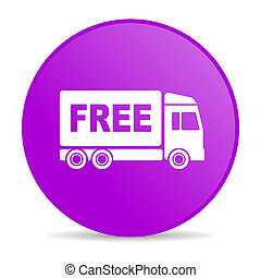 free delivery violet circle web glossy icon - pink circle...