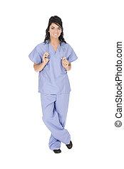 Nurse - Beautiful Caucasain nurse standing on white...