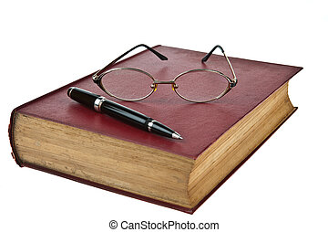 Old books with eye glasses and pen isolated on white background