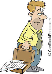 Cartoon tired man - Cartoon illustration of an tired man...