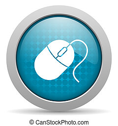 mouse blue circle web glossy icon