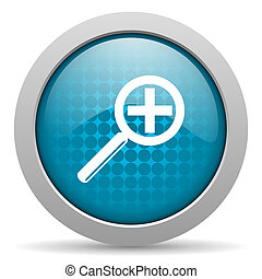 magnification blue circle web glossy icon