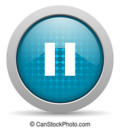 pause blue circle web glossy icon