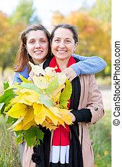 happy women in autumn