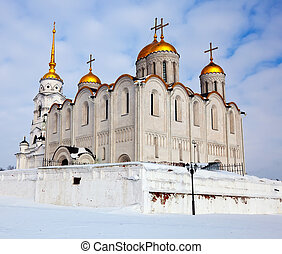 Uspenskiy cathedral at Vladimir in winter, Russia -...