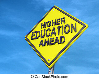 Higher Education Ahead Yield Sign