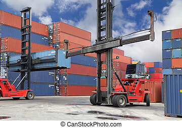 Forklift working in container yard