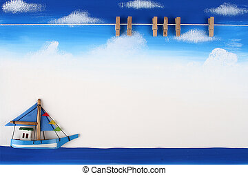 Picture Board with Wooden Paper Clip on Blue Sky, Ocean and Boat Drawing Background