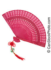 Chinese fan with traditional knot isolated on white...