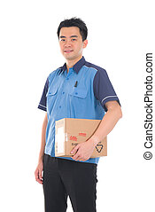 asian delivery dispatch boy delivering a package isolated...