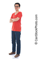casual asian chinese man in full body with isolated white background