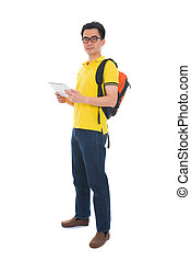 asian male student holding a tab and bag with isolated white background, on casual wear full body