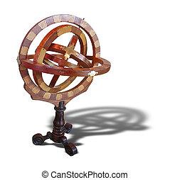 antiga, madeira, medindo, astrolábio, isolado