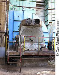 Huge industrial air compressor at old power plant