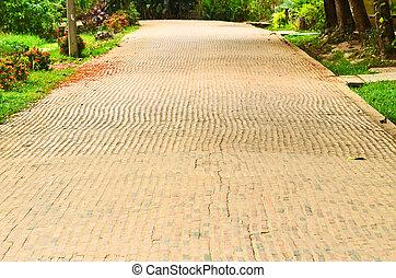 Brick road.
