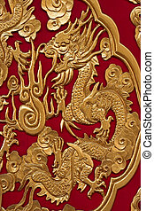 Golden Chinese Dragon on Red Background