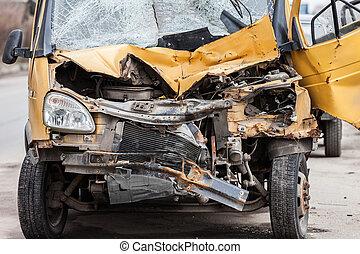 Broken car - Road accident crash damaged car or wreck broken...