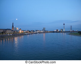 Duesseldorf - View of the town of Duesseldorf in Germany -...