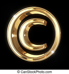 Golden 3D copyright symbol with clipping path - isolated on black background