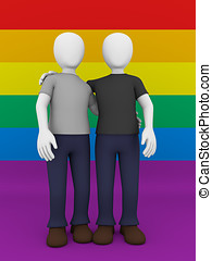 gay couple front view - Front view of a gay couple over the...