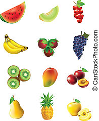 Set of fruits and vegetables - Fruits and vegetables, set of...