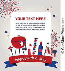 HAPPY independence day of america, card or invitation...