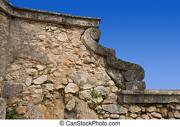 Blue Sky and Stone Wall background