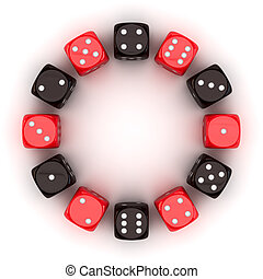 Gambling circle - Circle of red and black dice on the white...