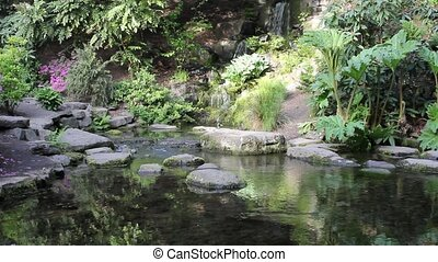 Waterfall in Rhododendron Garden - Waterfall in Crystal...