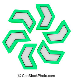 Arrow cycle - Green arrows rotating in a clockwise direction