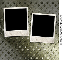 Two photo frames on military grunge background