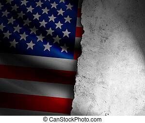US Flag with frame of paper