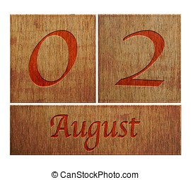 Wooden calendar August 2. - Illustration with a wooden...