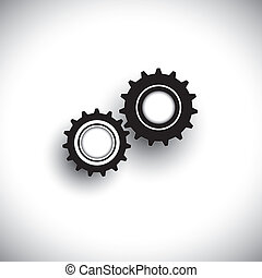 Vector illustration of cogwheels in 3d moving in tandem...