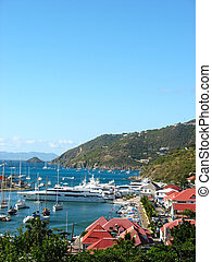 Gustavia Harbor with megayachts - Aerial view at Gustavia...