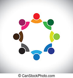 Colorful multi-ethnic corporate executive team or employee...
