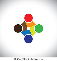 Colorful design of people symbols working as team &...