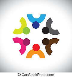Colorful design of a team of people or children icons This...