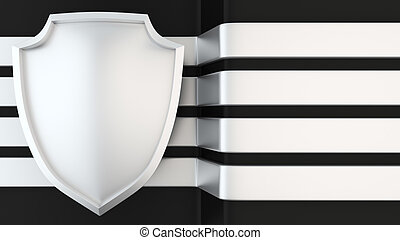 Power shield banner - Blank metal shield against four metal...
