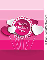 heureux, mère, jour, coeur, Étiquette, fond