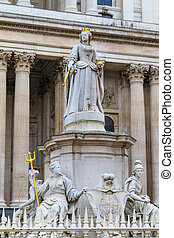 Queen Anne Statue In Front Of St Paul's Cathedral, London, UK