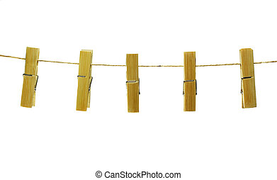 Clothes pins on rope, isolated on white