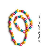 necklace with colorful beads on white background