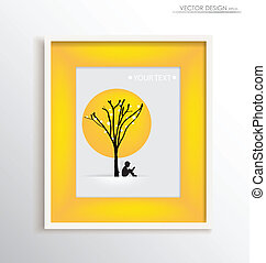 White modern frame with children read a book under tree, vector illustration.