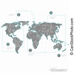 Set elements of infographics. World Map and Information...