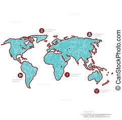 Set elements of infographics World Map and Information...