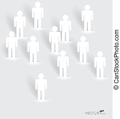Social Network concept : People cut out of paper, vector...