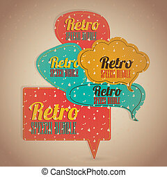Retro text balloons - Illustration of text balloons, retro...