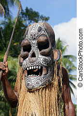 Masked Warrior Dance in the Trobriand Islands, Papua New...