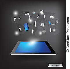 Modern technology thin tablet with social network. Vector...